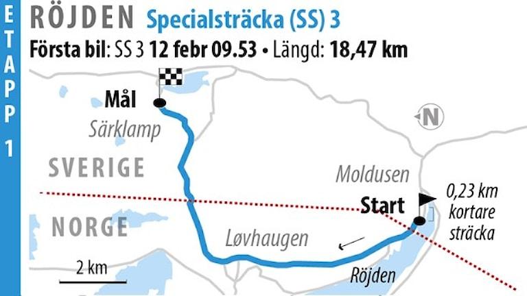 Svenska Rallyt SS 3 Röjden 1 (2016). Grafik: Jonas Dagsson/TT