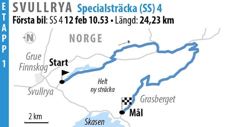 Svenska rallyt SS 4 Svullrya 1 (2016). Grafik: Jonas Dagson/TT
