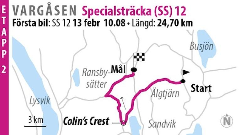 Svenska rallyt  SS 12 Vargåsen 1 (2016). Grafik: Jonas Dagson/TT