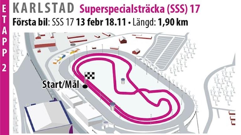 Svenska rallyt SS 17 Karlstad SSS 2 (2016). Grafik: Jonas Dagson/TT