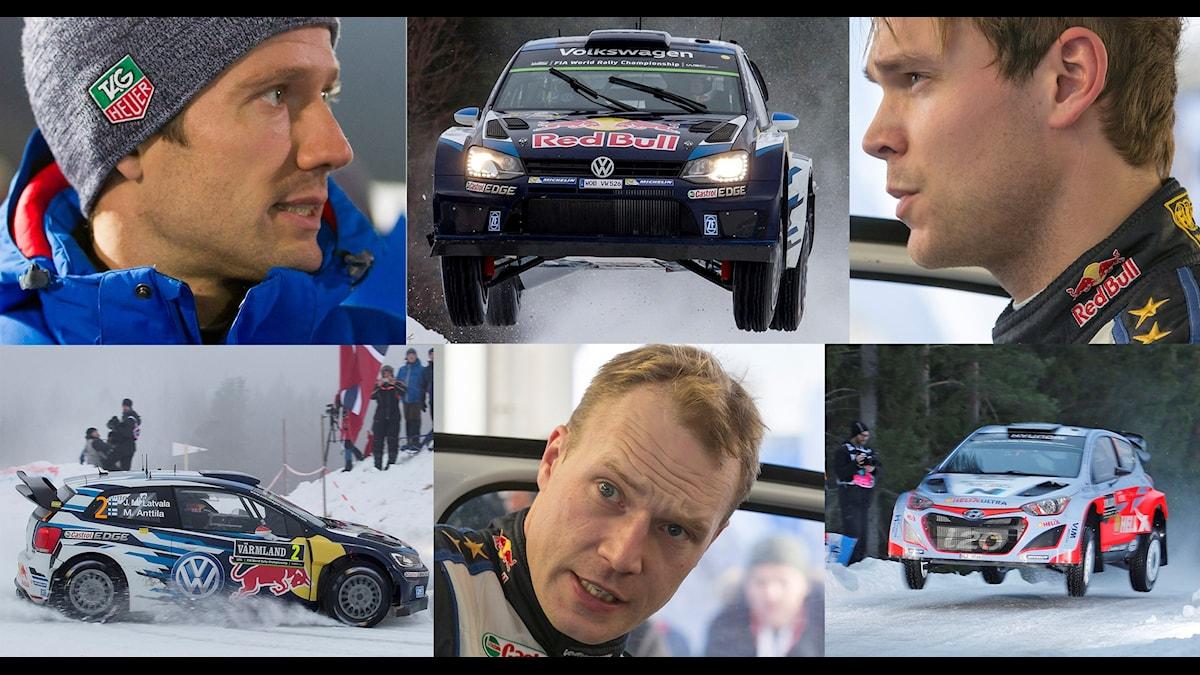 Collage favoriter Svenska rallyt 2016. Foto: TT och SR