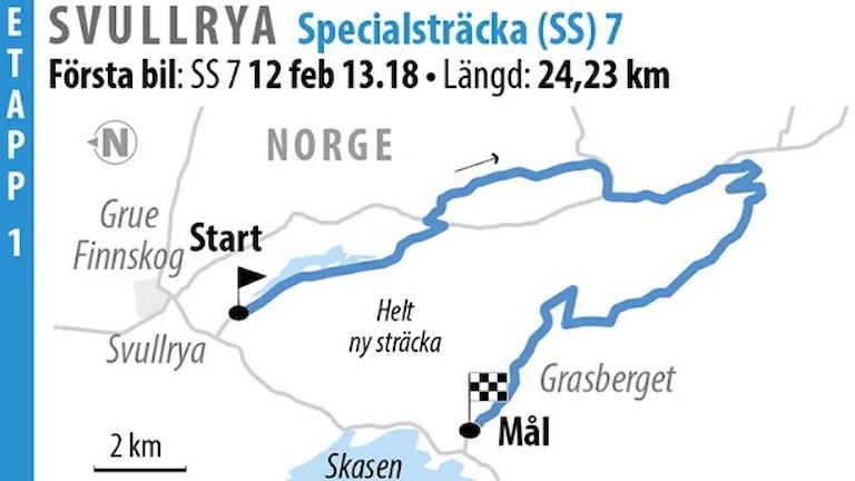 Svenska rallyt SS 7 Svullrya 2 (2016). Grafik: Jonas Dagson/TT