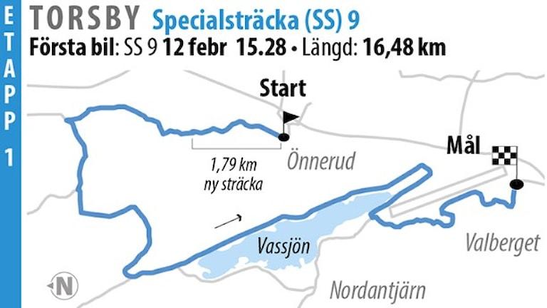 Svenska rallyt SS 9 Torsby 2 (2016). Grafik: Jonas Dagson/TT
