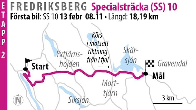 Svenska rallyt SS 10 Fredriksberg 1 (2016). Grafik: Jonas Dagson/TT