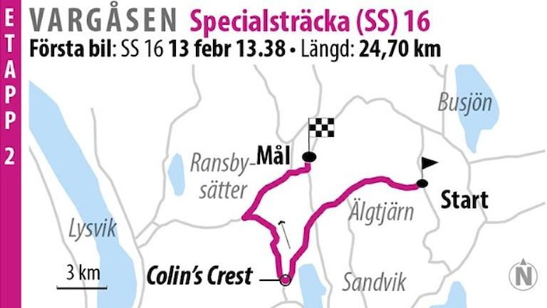 Svenska rallyt SS 16 Vargåsen 2 (2016). Grafik: Jonas Dagson/TT