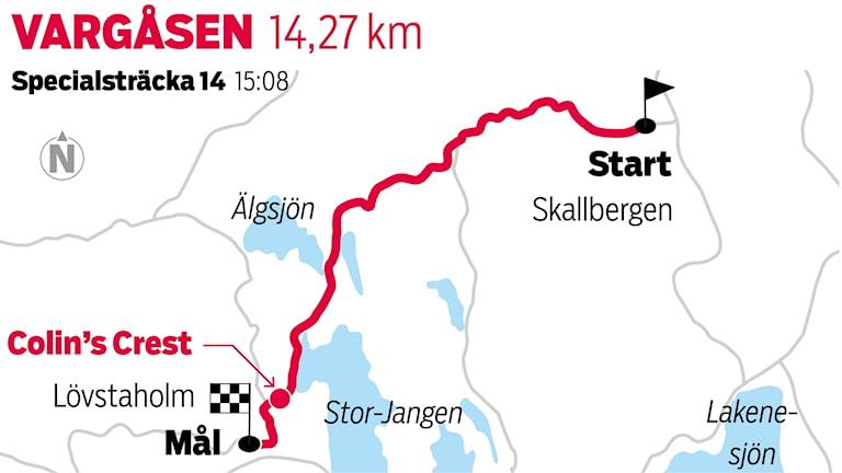 Grafik Vargåsen sträcka 14 / TT Nyhetsbyrån