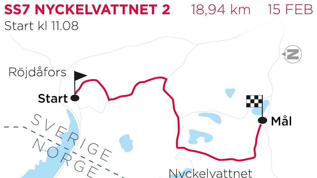 Svenska rallyt 2020 SS7 Nyckelvattnet 2 Grafik: TT