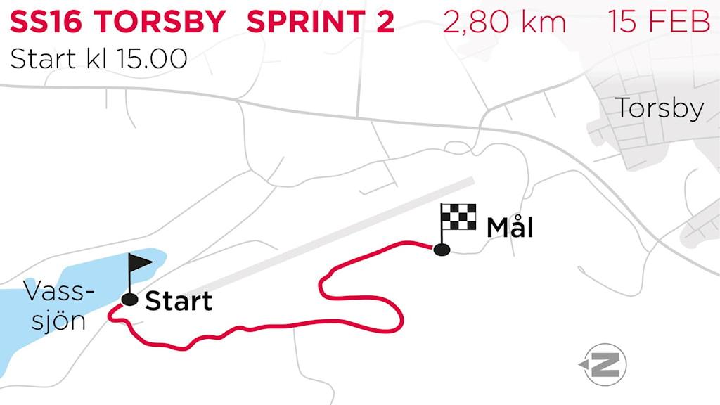 Svenska Rallyt 2020 SS16 Torsby Sprint. Grafik: TT