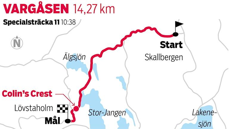 Grafik Vargåsen sträcka 11 / TT Nyhetsbyrån
