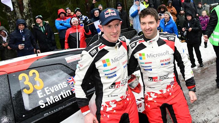 Elfyns Evans och Scott Martin. Foto: Jonathan Nackstrand/TT.