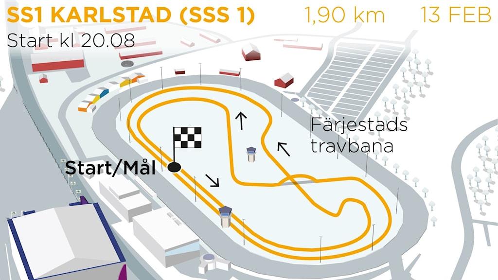 Svenska Rallyt 2020 SS1 Karlstad SSS 1. Grafik: TT