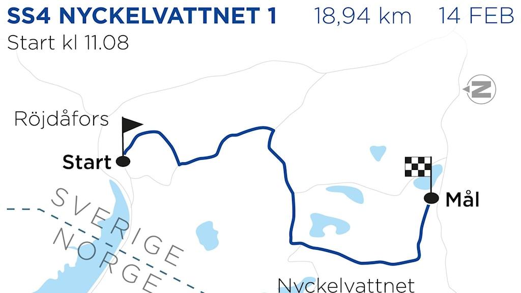 Svenska rallyt 2020 SS4 Nyckelvattnet 1. Grafik: TT