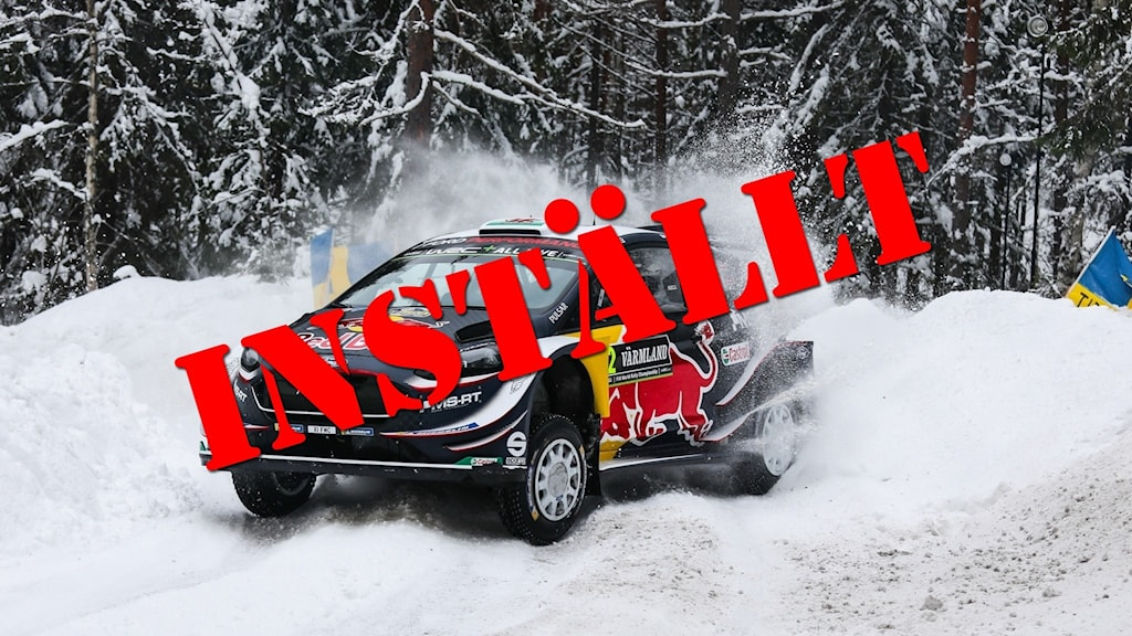 En rallybild där bilden täcks av ordet inställt. Foto: Örjan Bengtzing/Sveriges Radio.