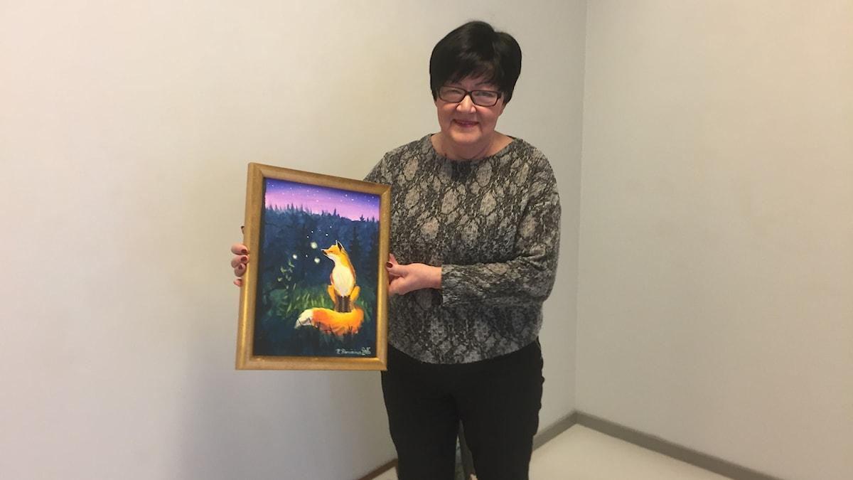 Maire Dahlman ja Blåvitgula penseldraget - näyttelyn julisteeseenkin päätynyt teos