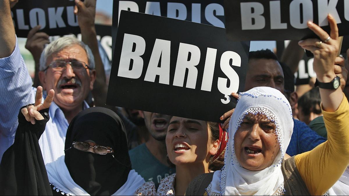 Kuvassa turkkilaisia mielenosoittajian kädessään loput, joissa lukee turkiksi rauha.