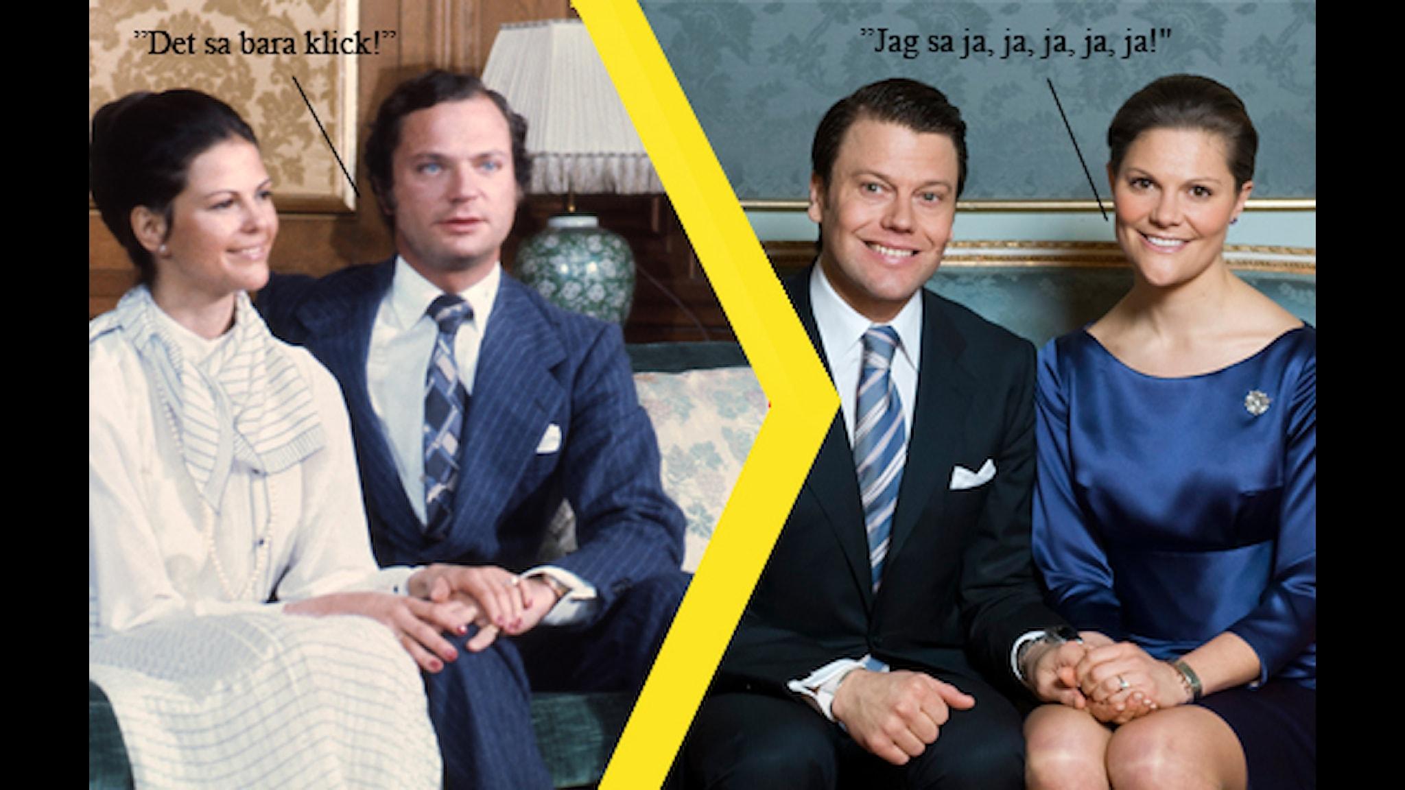 Kungen och Silvias förlovning samt Daniel och Victorias förlovning. Bilden är ett montage. Foto: SVTBild/HENRIK MONTGOMERY / SCANPIX