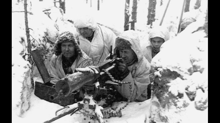 Finska soldater under finska vinterkriget som pågick mellan 1939 11 30 - 1940 03 13. Foto: Public Domain.