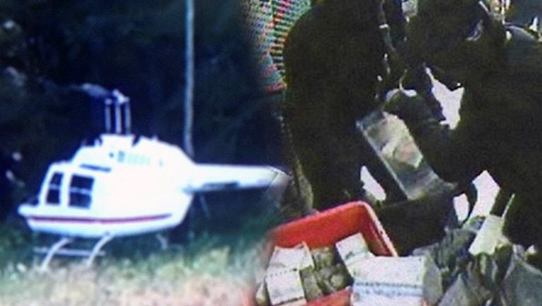 Övervakningsbilder på en vit helokopter som landar på en äng och två svartklädda personer som rotar igenom röda backar fulla med kontanter.