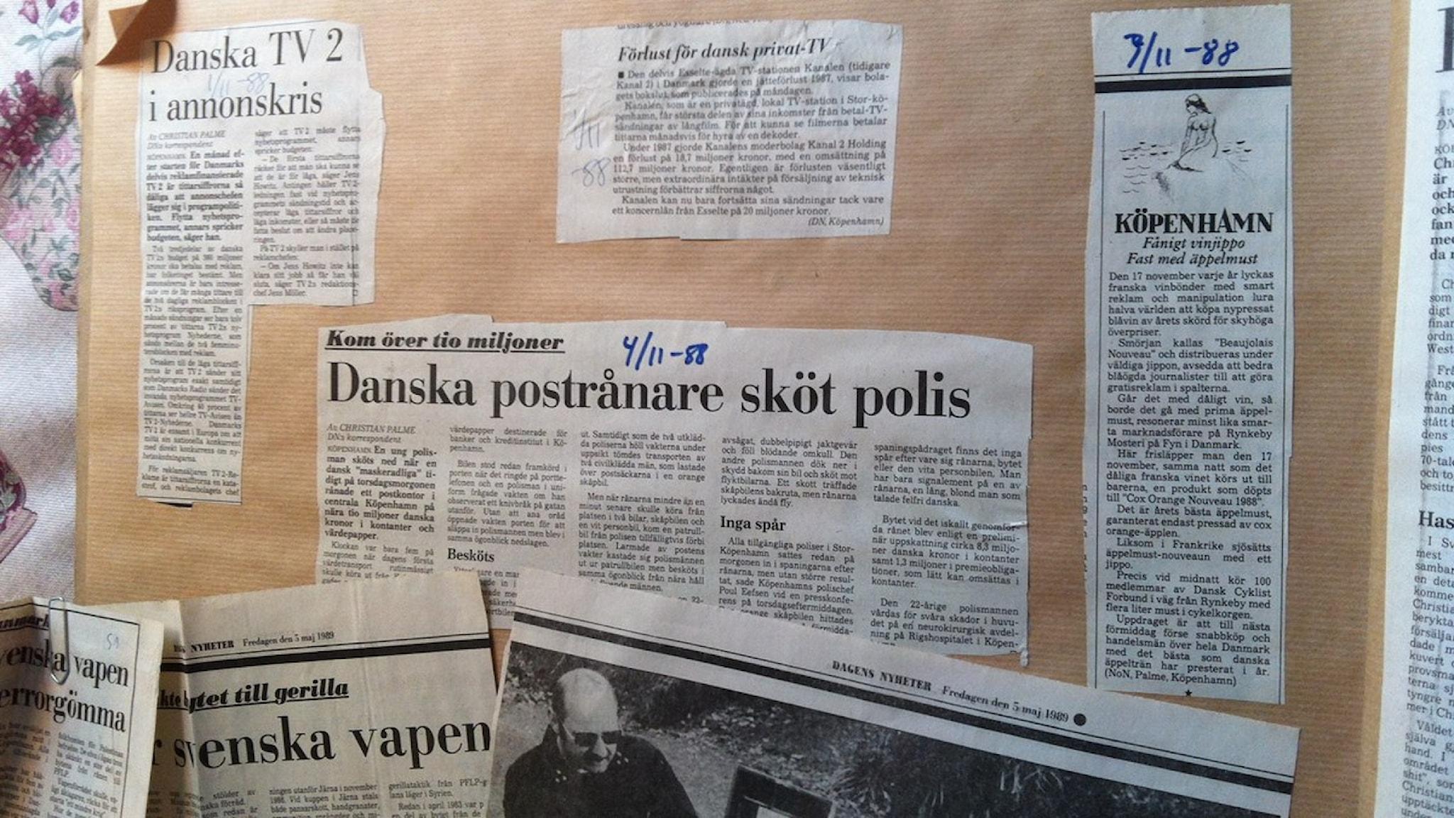 Artiklar korrespondenten Christian Palme skrev om Blekingegadeligan. Foto Rosa Fernandez.