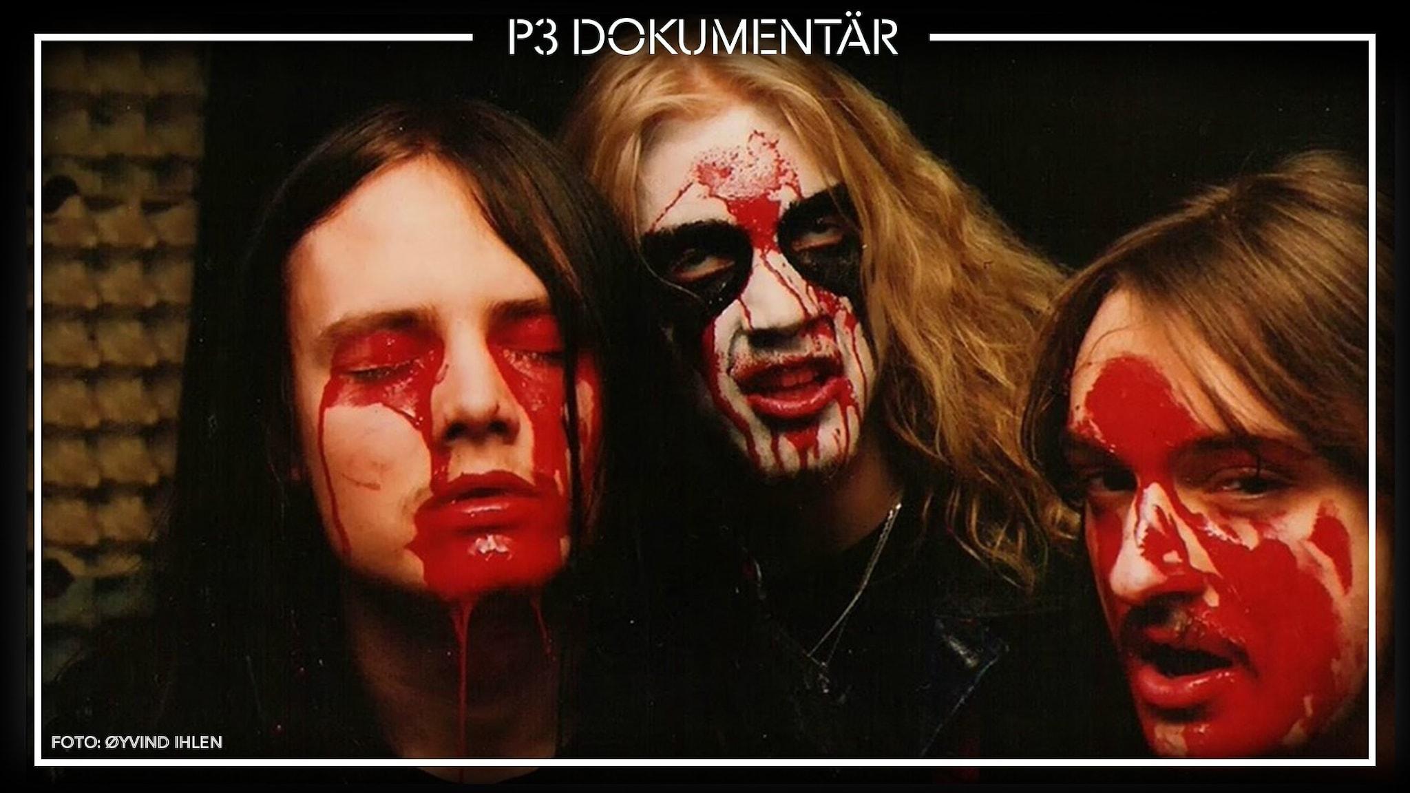 Foto på Øystein Aarseth, Per Yngve Ohlin och Jørn Stubberud i black metal-bandet Mayhem.