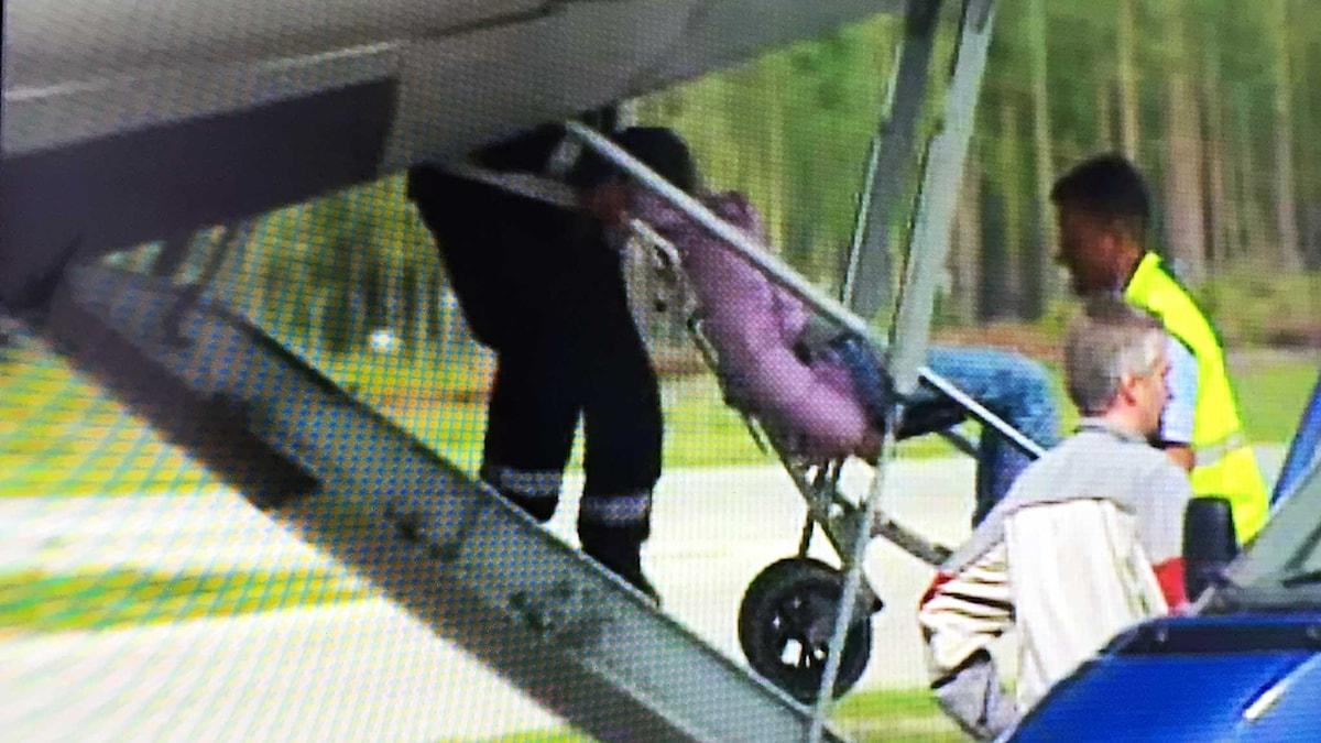 En apatisk flicka bärs in på flygplan för att utvisas ur Sverige. Foto: SVT Aktuellt / Emil Larsson