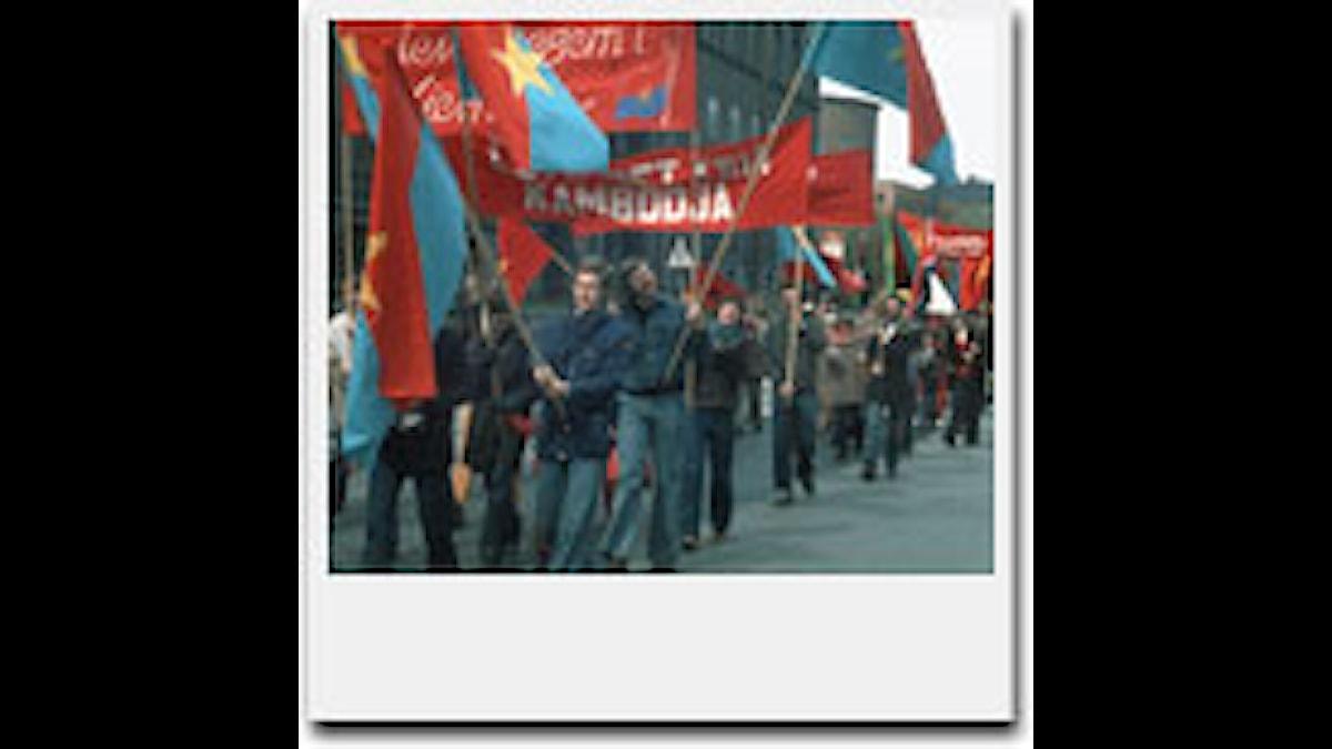 Vietnamdemonstration 1975. Foto: Kjell Gustafsson/SVT Bild.
