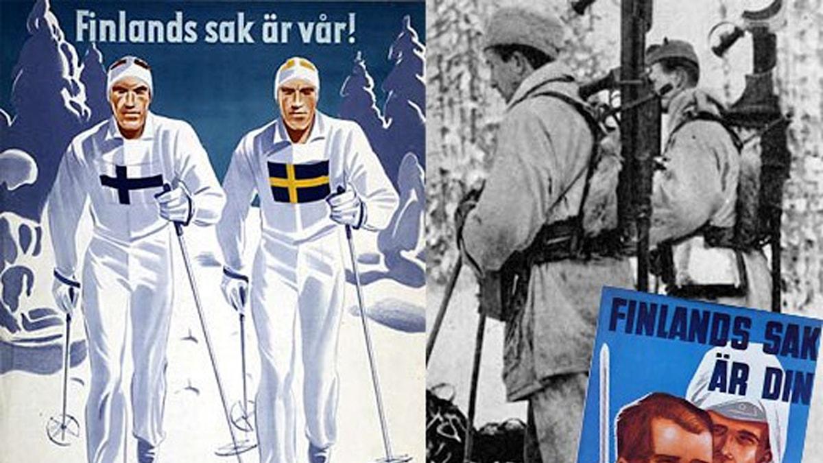 """Rekryteringsaffisch för svenskar till finska vinterkriget med rubriken: """"Finlands sak är vår"""" och två skidåkare med finska och svenska flaggor på brösten."""