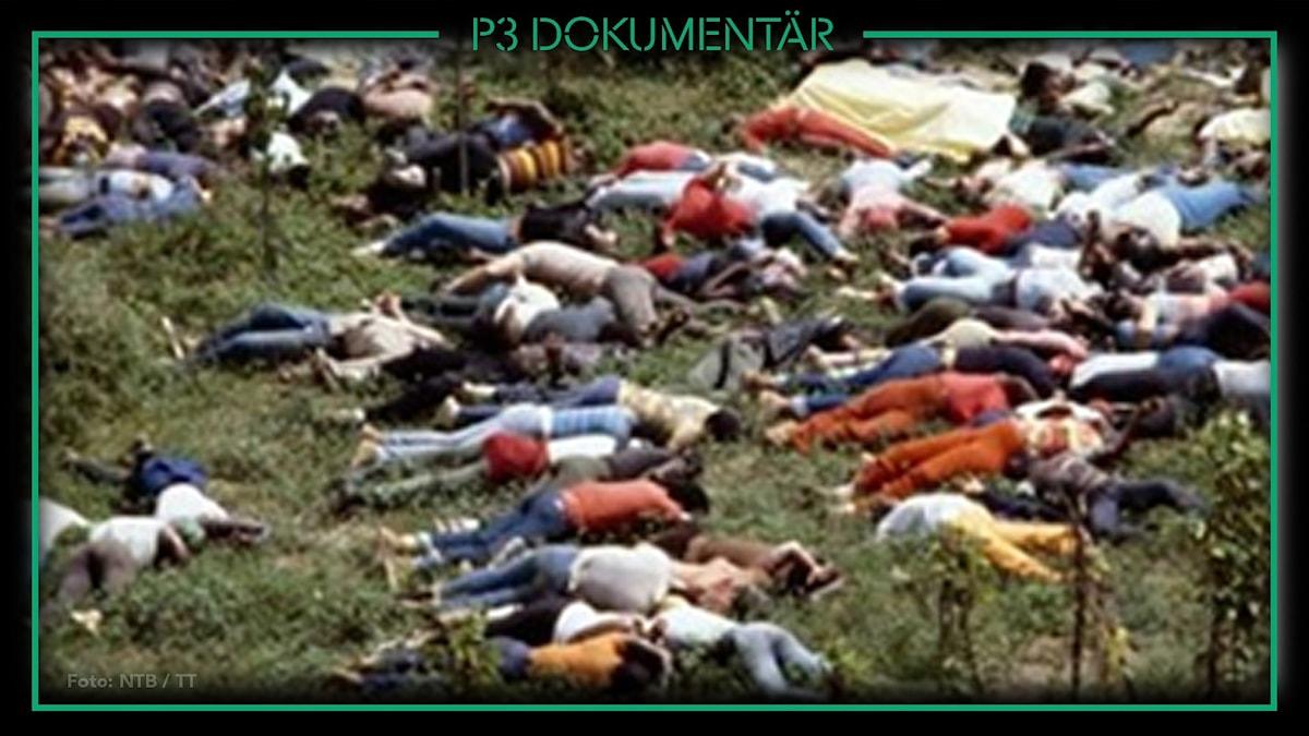 Foto av döda kroppar i Jonestown, år 1978.