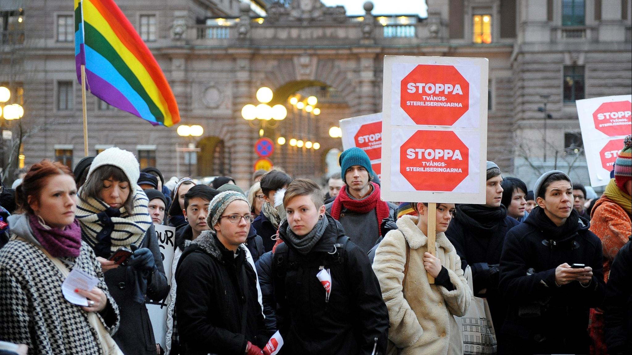 Den 18 januari 2012 arrangerades en demonstration mot tvångssteriliseringarna på Mynttorget, utanför Riksdagen. Trots politiska löften från flera håll om att steriliseringarna ska upphöra kommer signaler från regeringen om att Kristdemokraterna fått sin vilja igenom om att lagen ska utredas på nytt.