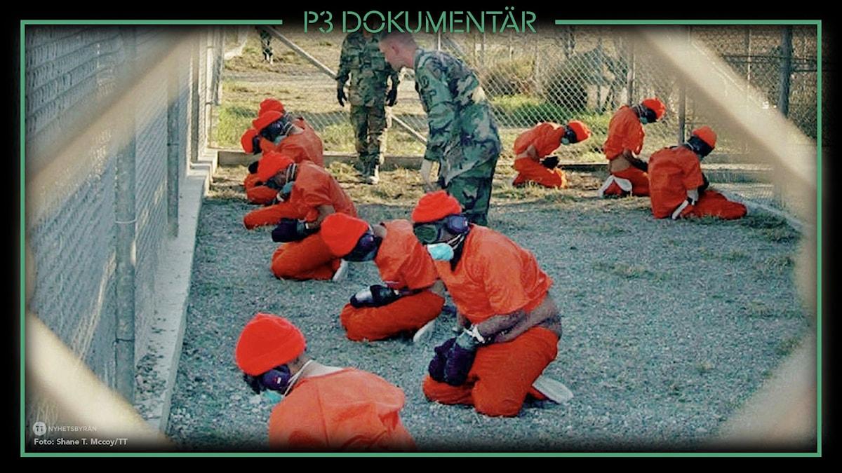 Fångar i lägret Guantánamo på Kuba.