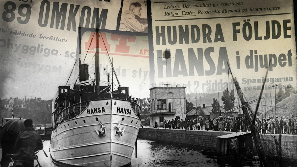 S/S Hansa vid kaj innan avfärd.