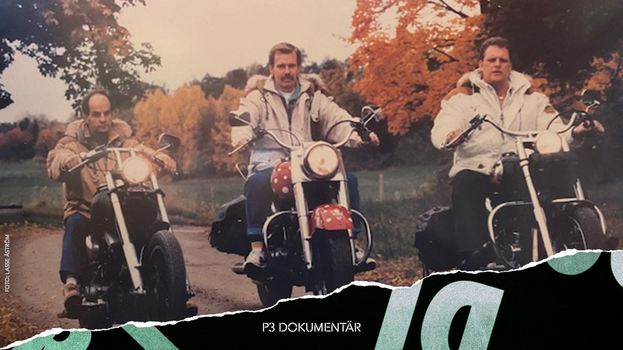 """De tre """"iraksvenskarna"""" på varsin motorcykel. Det är höst och färggranna träd i bakgrunden."""