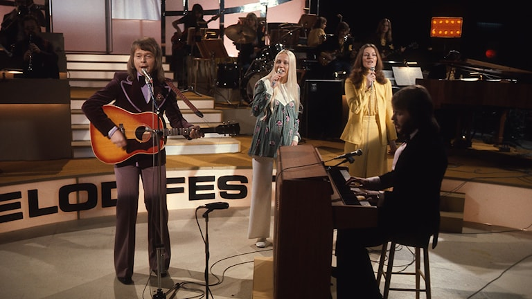 Abba i Melodifestivalen 1973. Foto: SVT Bild.
