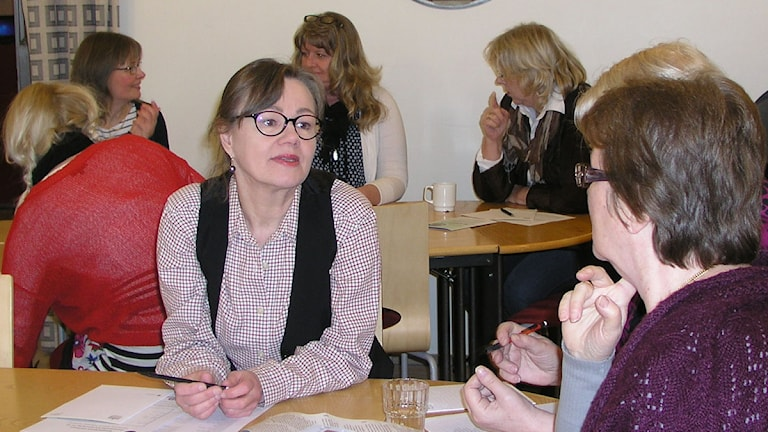 Reetta Stenström pohti kirjaston tarpeita Foto: Kirsi Blomberg Sveriges Radio Sisuradio