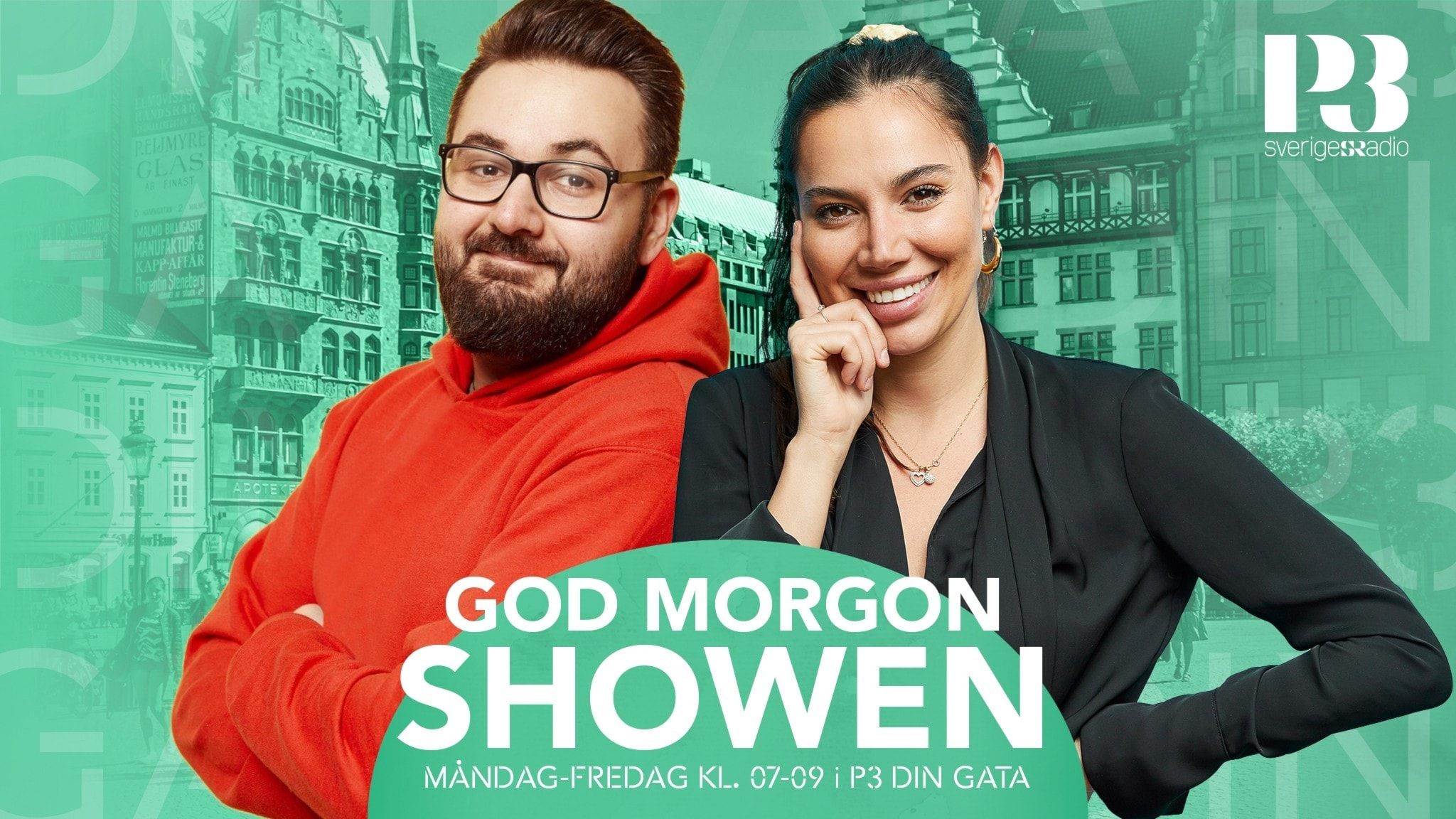 Johannes Cakar och Erika Nielsen i God Morgonshowen i P3 Din Gata.