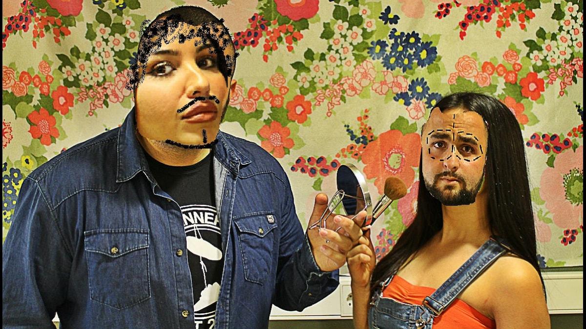 Mona & Hamza byter könsroller för en dag.  Foto: Stephanie Londéz och Mona Hadad/SR