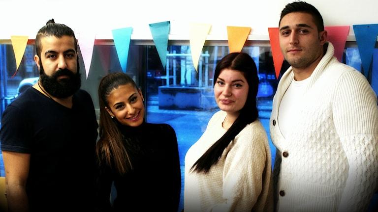 Ali Jehad, Sofie Rajabi, Patricia Gierach och Harre Navasardian. Foto: Stephanie Londéz/SR