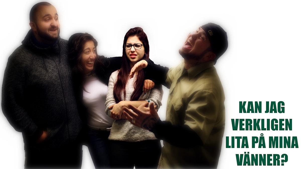 Mona står ihop med Hamza, Suzi och Juan men vet inte riktigt om hon kan lita på dem? Foto: Stephanie Londéz/SR