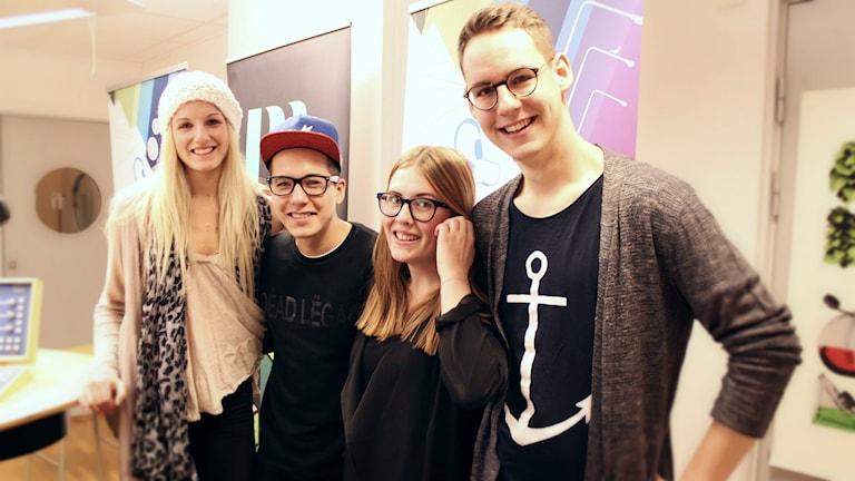 Maria Gregorioff, Philip Gertsson, Elin Jönsson och Sebastian Swärdh. Foto: Gustaf Widegård/SR