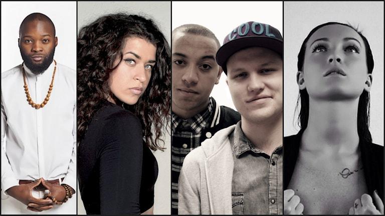 Juwon Simmons, Samia, Conakry & Rapstinens och Lova Drevstam. Foto: Privat/Sara Eklund/Juan Havana