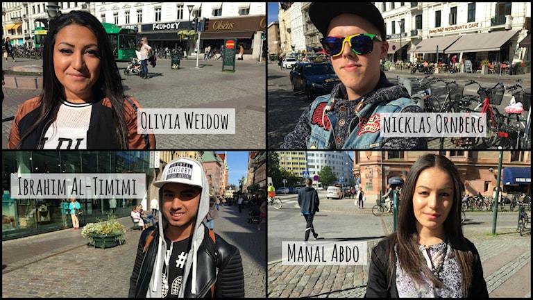 Olivia Wiedow, NIklas Örnberg, Ibrahim Al-Timimi och Manal Abdo. Foto: Juan Havana/SR