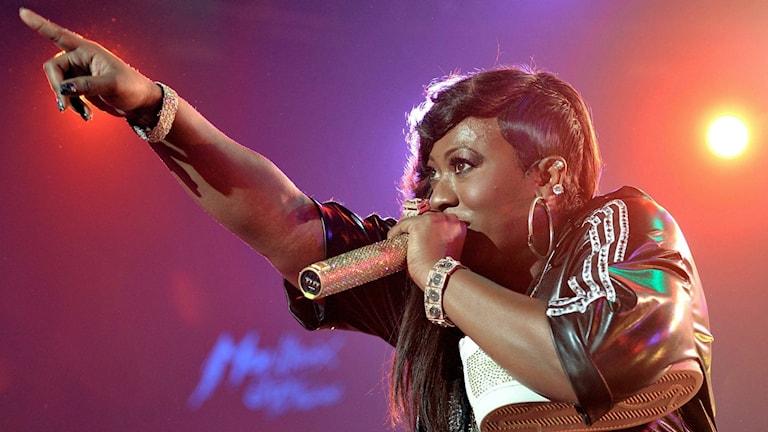 Bild på sångerskan Missy Elliott, vars nya låt med Pharrell Williams börjar spelas på P3 Din Gata. Foto: Dominic Favre/TT