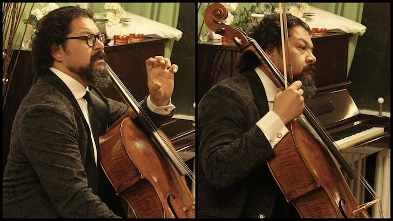 Karim Wasfi spelar på sin cello. Foto: Ameen Al Khateeb