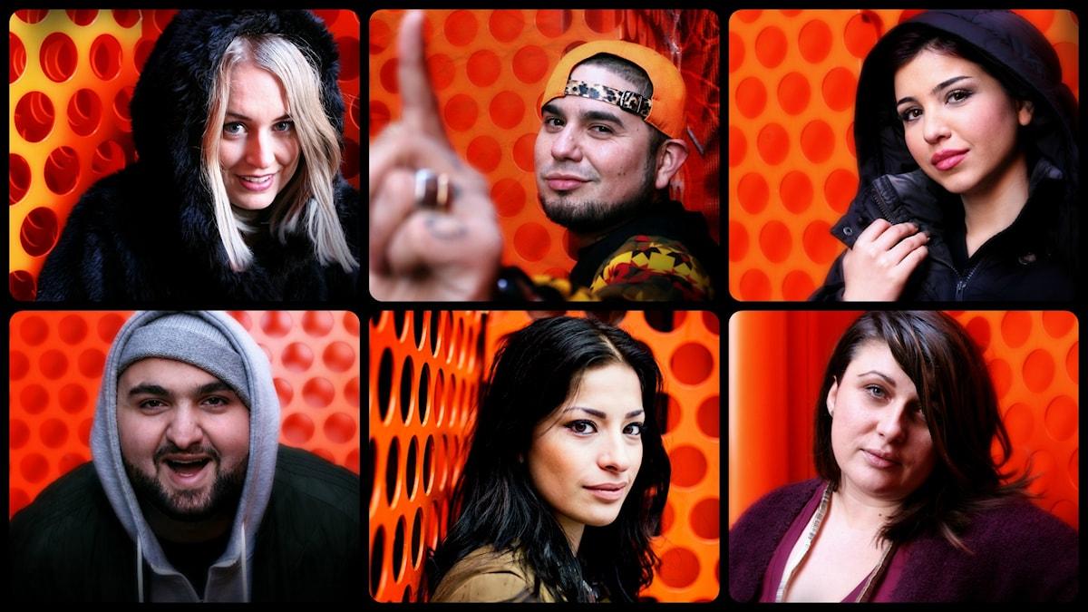 Mari, Juan, Mona, Hamza, Afrodite och Danina. Foto: Stephanie Londéz och Julia Lindemalm/SR