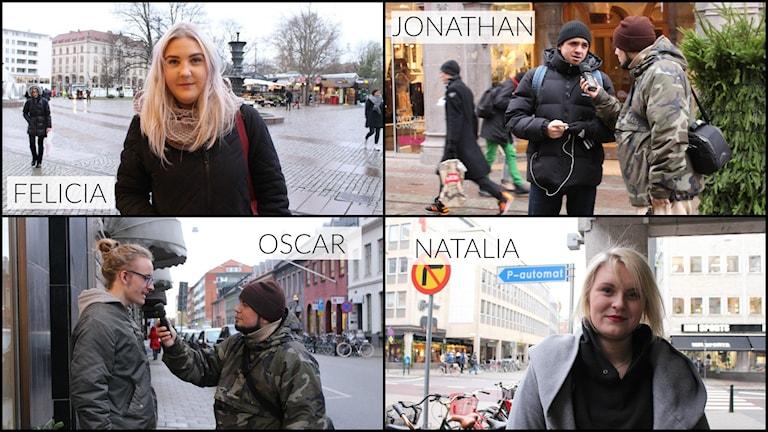 Felicia, Jonathan, Oscar och Natalia berättar vad de tittar på just nu. Foto: Emma Leyman/SR