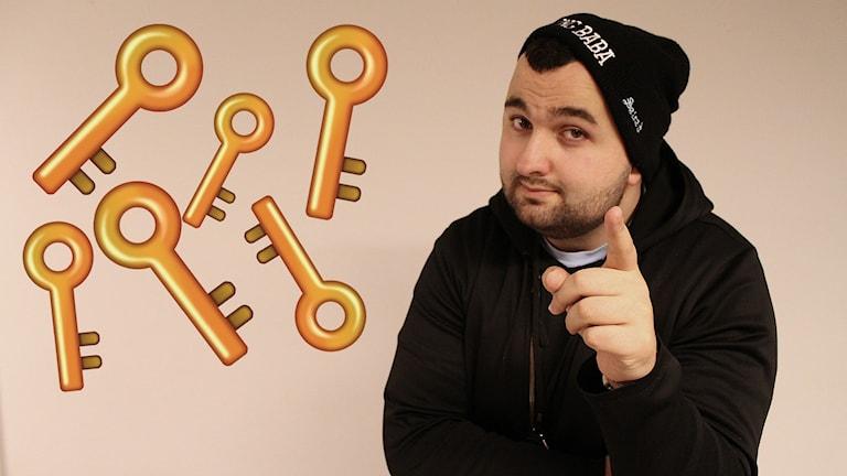 Bild på Hamza och inklippta animerade nycklar. Foto: Emma Leyman/