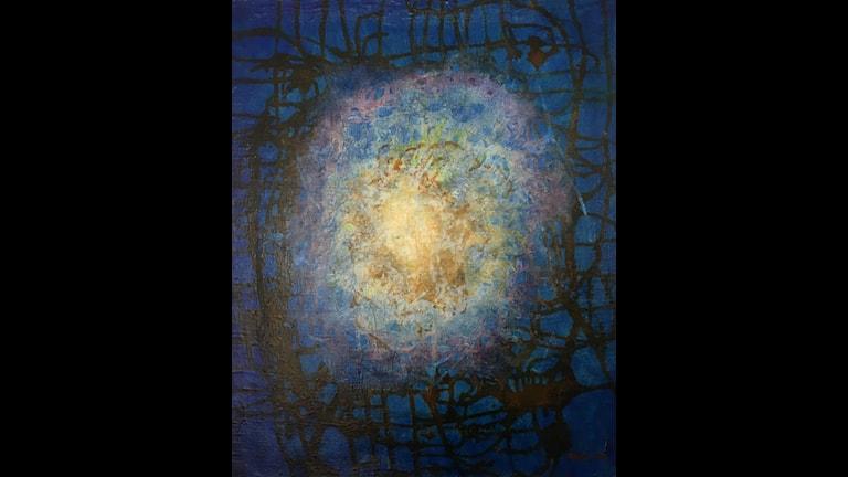 Min måne av Bengt O Björklund - Olja på duk 2007. Omslagsfoto på hans bok Jag missade Woodstock