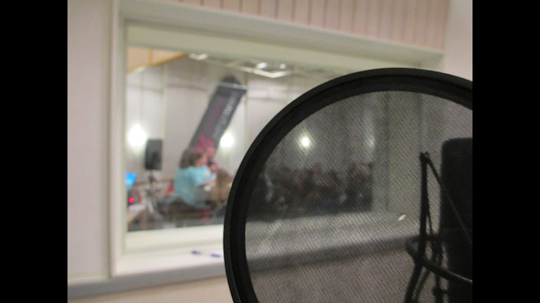 Mikrofon puffskydd radiostudio Vi i femman. Foto: Johanna Jennische