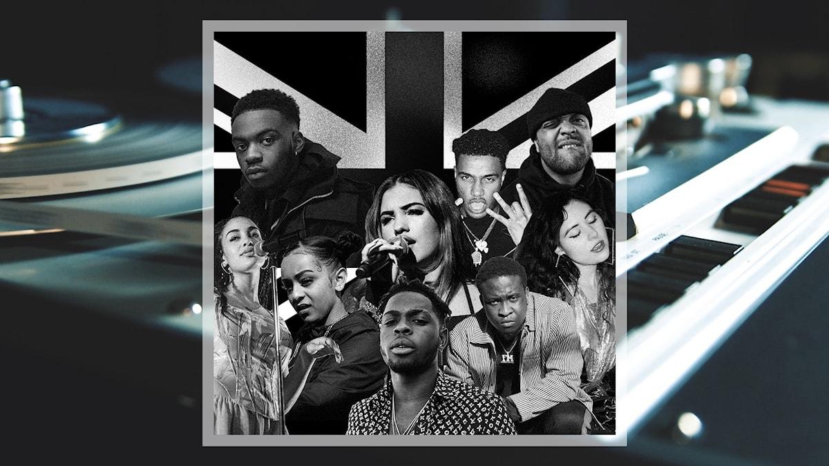Kollage med artisterna Jorja Smith, Not3s, Paigey Cakey, Mabel, Yxng Bane, AJ Tracey, Kojo Funds, Donae'O och Eliza framför Storbritanniens unionflagga.