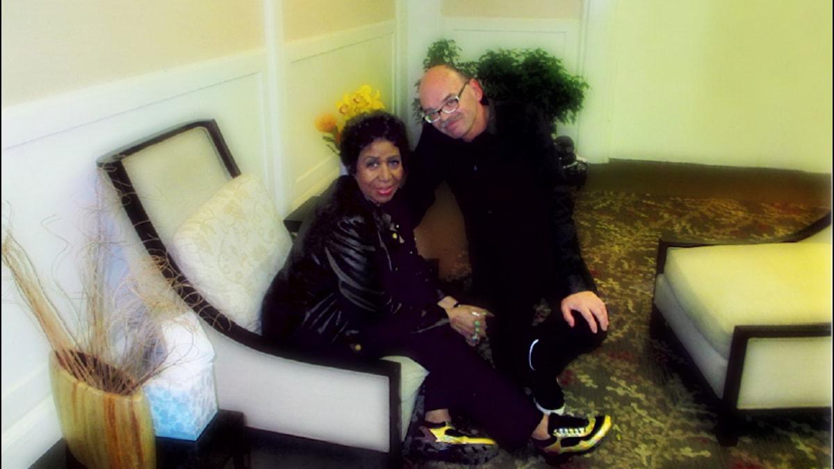 Aretha Franklin och Mats Nileskär i Southfield, Michigan. Foto: Susanne Måhlgren.